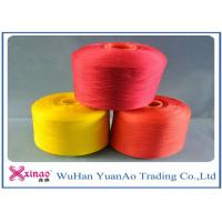 China High Tenacity Dyed 100 Polyester Spun Yarn / 100% Polyester Colored Thread Yellow Red Green on sale