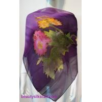 Buy cheap 140cm square silk scarf, Chiffon silk scarves, 100% pure silk stoles by hand drawing from wholesalers