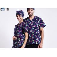Buy cheap V Neck Printing Medical Scrubs Uniforms Uniforms Short Sleeve Tee from wholesalers