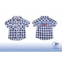 Buy cheap Unisex 1 - 16 Year Short Sleeve Lapel Cotton Kids Plaid Shirts, Casual shirts For Summer from wholesalers