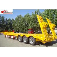 Buy cheap 60T Semi Low Bed Trailer , Hide Tire 3 Axle Low Bed Trailer With Strong Trailer Frame from wholesalers