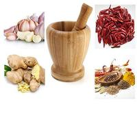 Buy cheap bamboo mortar and pestle mortar using for garlic with wholesale price from wholesalers