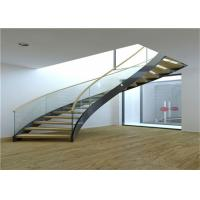 Buy cheap Cable Balustrade Building Curved Stairs , Interior Wood Stairs Building Project Design from wholesalers