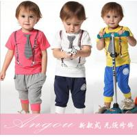 Buy cheap 2014 spring-summer new arrived casual sport tie children baby boy clothing sets boys suit from wholesalers