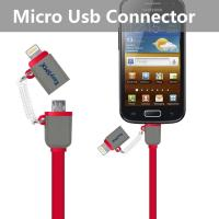 China Red Cell Phone Usb Cable With Lightning Connector And Micro Usb Connector on sale