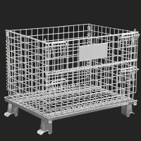 Buy cheap Movable Metal Storage Cage , Folding Anticorrosion Wire Mesh Container from wholesalers