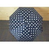 Buy cheap Navy Blue Mens Collapsible Umbrella, Strong Fold Up Umbrella With Round Circle Dot from wholesalers
