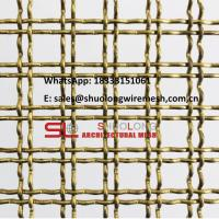Buy cheap Metal Wall Cladding Ceiling Interior Brass Crimped Architectural Woven Wire Mesh from wholesalers