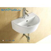 Buy cheap Small counter type hand wash basin wall hanging ceramic white 445*330*155 mm from wholesalers