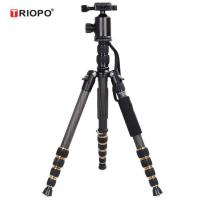 Buy cheap TRIOPO GT-2505+Q-2 Portable Carbon Camera Tripod Monopod Kit with Ball Head with black and gold color from wholesalers