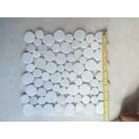 Buy cheap white tumbled cobble pebble stone mosaic tiles floor paving and wall cladding decoration from wholesalers