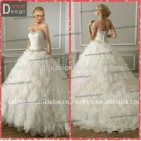 Buy cheap Elegant Puffy Skirt Ruffles Organza Ball Gown Wedding Dresses with sweetheart neckline from wholesalers