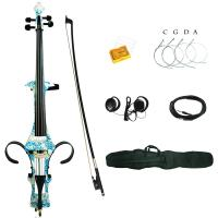 Buy cheap 4/4 White Blue Flower Colored Solid Wood Electric Cello with Bag, Bow, Rosin, Aux Cable, Earphone from wholesalers