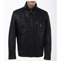 Buy cheap rain proof Fashion Fitted Mens Thick dark red Leather full zip washed pu Jacket product