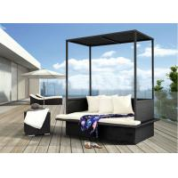 Buy cheap Black Outdoor Rattan Furniture Beach Double Rattan Sunbed With Roof from wholesalers