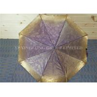 Purple Waterproof Women Windproof Folding Umbrella Fiberglass Ribs