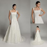 Buy cheap A Line Lace Straps Womens Wedding Dresses Court Train with Flower Applique from wholesalers