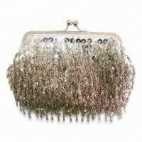 Buy cheap Ladies' Clutch Bag, Made of Satin, with Metal Chain/Fashionable Style, Customized Designs Welcomed from wholesalers