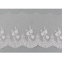 Buy cheap Embroidered Floral Lace Fabric Scolloped Edging Nylon Mesh Cotton Lace Bridal Ribbon from wholesalers