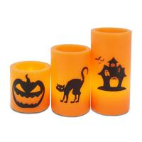 Buy cheap Real Wax Holiday Decor Yellow Flickering Led Candle/Halloween Led Candle With Printing from wholesalers