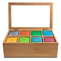 Buy cheap trend selling bamboo tea bag organizer tea boxes for sale with detachable divider from wholesalers