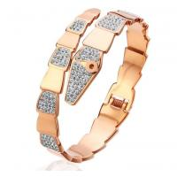 Buy cheap Trendy Fashion Snake Rose Gold Bangle for Girl Gemstone and Crystal Bangle Cuff Metal Bangle from wholesalers