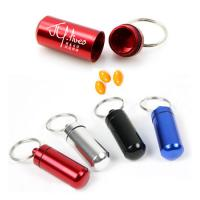 Buy cheap Mini Aluminum Travel Pill box Metal Case Bottle Holder Container with Keychain Pill Holder from wholesalers