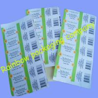 Buy cheap Customized Packaging Plastic Film , Transparent Barcode Self-adhesive Sticker from wholesalers