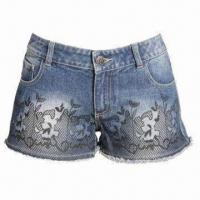 Buy cheap Women's Denim Shorts with Black Printing and Raw Hem Edge, Elegant Designed Button from wholesalers