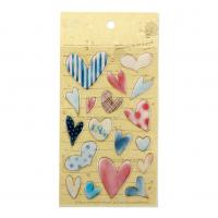 Buy cheap Heart Love 3D Resin Stickers 18 pcs Colorful Stationery Playing Creative Beautiful Epoxy Stickers from wholesalers