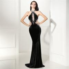 Buy cheap Black Prom Ladies Evening Dresses , Leaking Back Velvet Night Dress For Advanced from wholesalers