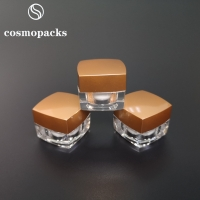 Buy cheap 15g 30g Acrylic Clear Square Cosmetic Cream Jars 60mm Diameter product