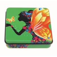 Buy cheap Square Rectangular Tin Box with hinged lid with plastic inner and mirror from wholesalers