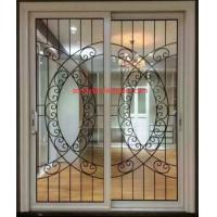 Buy cheap Wrought iron glass panel with  12*12 black steel bar in sliding door from wholesalers