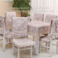 Buy cheap Cotton floral tablecloth and quilt stitch chair cover and seat cushion for six seater, from wholesalers