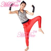 Buy cheap Sporty Hip Hop Dance Apparel Sleeveless Sequin Bodice Red Leotard With Fingerless Gloves from wholesalers