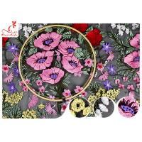 Buy cheap Heavy Embroidery Floral Multi Colored Lace Fabric For Evening Dress Fabric OEM from wholesalers