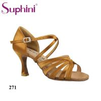 Buy cheap Dark Tan Vamp Flare Low Heel Practice Latin Shoes Women from wholesalers
