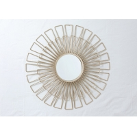 Buy cheap Living Room Rose Gold Floral Metal Wall Art Mirror from wholesalers