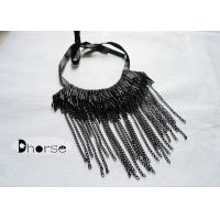 Buy cheap Black Beads Beaded Collar Necklace With Metal Chain Tassels , Fashion Collar Necklace from wholesalers