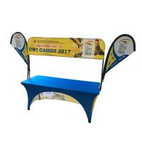 Buy cheap Tradeshow Advertising Spandex Elastic Polyester table cloths with teardrop flag from wholesalers