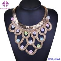China Jewelry Crystal Flower chain Collar Choker Statement Geometric Unique Necklace on sale