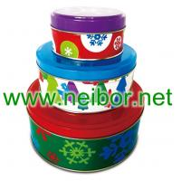 Buy cheap round tin box set, cake tin box, baking tin box, cookie tin box from wholesalers