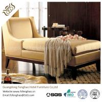 China Wooden Indoor Chaise Lounge Chair Cream Tan Fabric With Transitional Arm Ottoman on sale