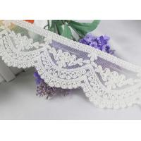 Ivory Cotton Vintage Embroidered Lace Trim , Wedding Dress Scalloped Lace Ribbon