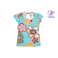 Buy cheap Colorful Flower Printed Crew Neck Cotton Girls Toddler Graphic Tees, Summer Blouse from wholesalers