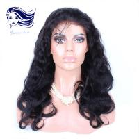 Buy cheap Indian 6A Human Hair Front Lace Wigs For Black Women Dark Black from wholesalers