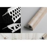 Buy cheap Customized Length Plastic Angle Profile White Plastic Angle Trim With Two Silver Lines from wholesalers