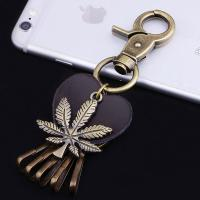 Buy cheap metal keychain blank metal keychain metal coin holder keychain leaf shape key chains from wholesalers