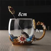 Buy cheap Creative Decoration Coffee Mug Lead Free Daisy Enamel Crystal Glass Cup from wholesalers